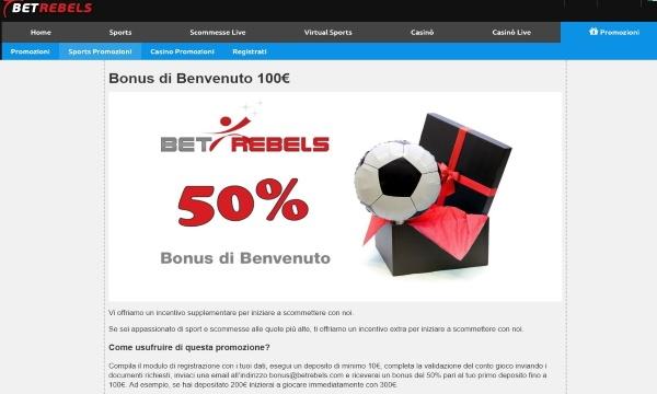 Betrebels bonus scommesse online